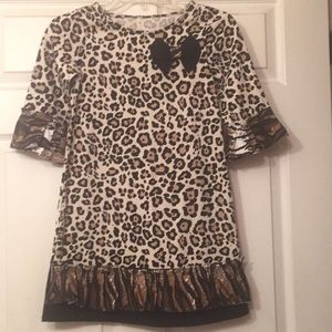Other - Girls upcycled cheetah dress with bow
